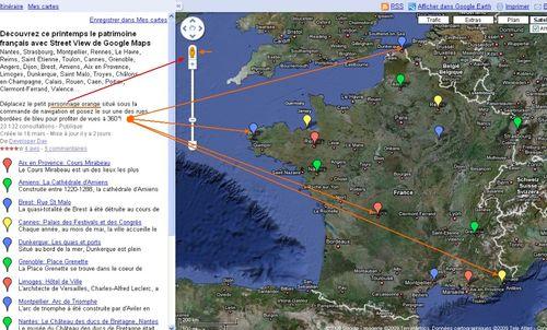 Patrimoine français avec Street View de Google Maps